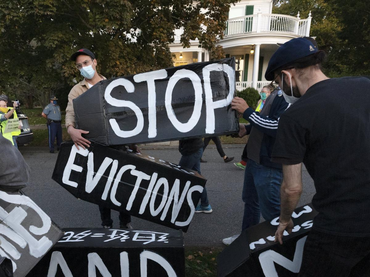 Housing activists protest evictions in Massachusetts, which recently allowed its sweeping statewide eviction ban to expire. That leaves residents with only a much weaker eviction protection order from the Centers for Disease Control and prevention.