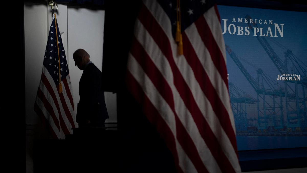 President Biden leaves after speaking about his sprawling $2.3 trillion American Jobs Plan on Wednesday.