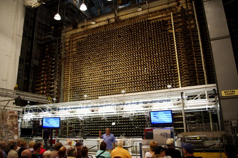 """The B Reactor is the world's first full-scale nuclear reactor located at the Hanford site in Richland, Wash. The three-story-high block of graphite contains about 2,000 """"process tubes"""" arranged in a grid. These tubes contained uranium, and when enough ura"""