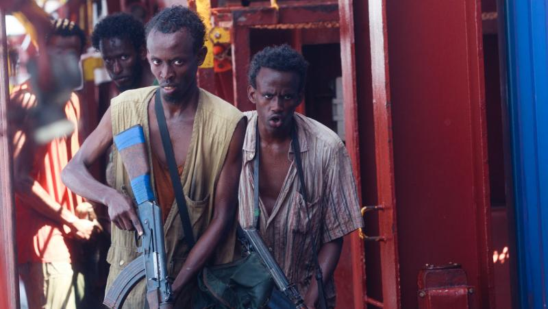Barkhad Abdi (middle) plays Muse, the leader of a band of Somali pirates who take over a freighter in Captain Phillips.
