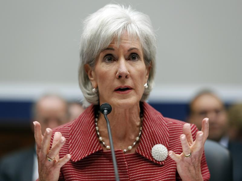 """Department of Health and Human Services Secretary Kathleen Sebelius says """"6 in 10 Americans who currently lack insurance will be able to find coverage that costs less than $100 a month"""" in health insurance exchanges set to open next week. Here, Sebelius i"""