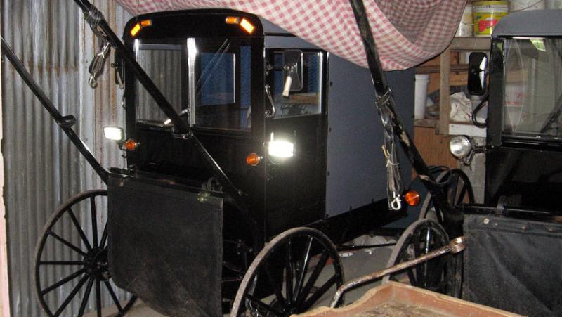 One Amish family in Lancaster County, Pa., has three horse-pulled buggies they store in a barn. They all have electric lights powered by rechargeable batteries. One of the buggies even has battery-powered windshield wipers.