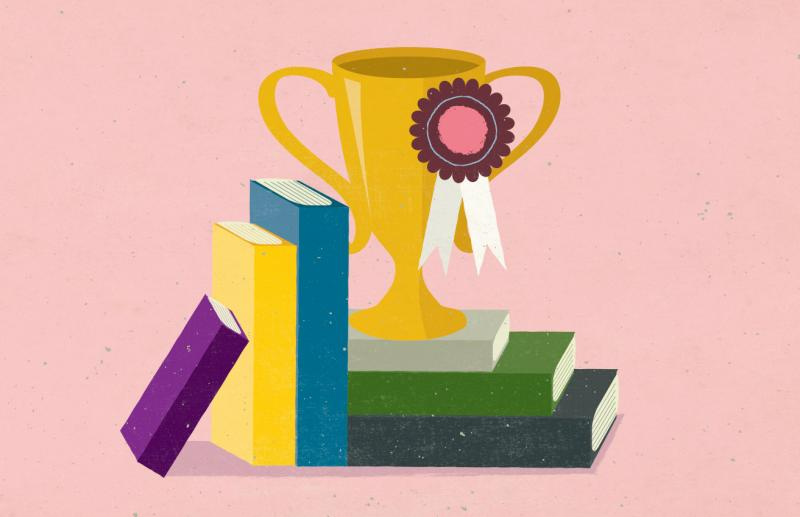 Illustration: A trophy sits on a pile of books.