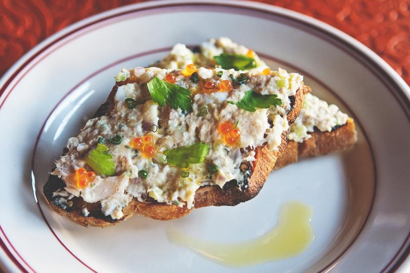A crostini of smoked trout, hard-boiled egg, aioli and roe at The Red Hen in Washington, D.C. Owner/Chef Michael Friedman says Mediterranean cooking is simply a tweaking of basic cooking ideas.
