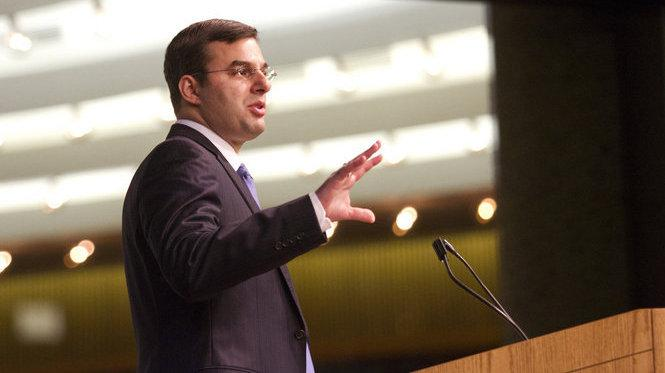 Rep. Justin Amash, R-Mich., holds a town hall meeting Wednesday at the Gerald R. Ford Presidential Museum in Grand Rapids, Mich.