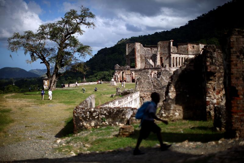 "The Sans-Souci Palace, or ""Palace Without Worry,"" in Milot is one of the sites Haitian tourism officials hope will attract visitors. Former slaves built Sans-Souci in the early 1800s, soon after they overthrew the island's French colonial rulers."