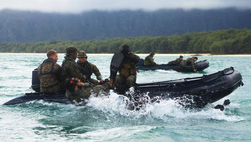U.S. Marines with 4th Force Reconnaissance Company slide off F470 Combat Rubber Raiding Crafts during training in Waimanalo, Hawaii. The French company Zodiac has been the U.S. military's choice for inflatable rubber rafts for roughly two decades. Now the