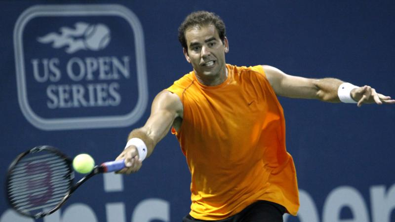 Pete Sampras returns a forehand against Russia's Marat Safin during an exhibition tennis match at the L.A. Tennis Open tournament in 2009. The tournament, which has been around for decades, is now relocating to Colombia as America's dominance in the sport
