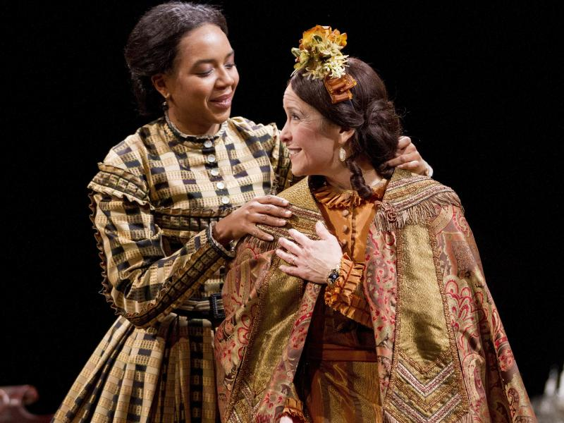 Sameerah Luqmaan-Harris plays Elizabeth Keckly and Naomi Jacobson plays Mary Todd Lincoln in Arena Stage at the Mead Center for American Theater's production of Mary T. & Lizzy K.