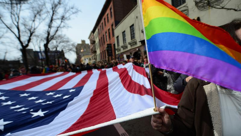 Marriage equality supporters take part in a march and rally ahead of U.S. Supreme Court arguments on legalizing same-sex marriage in New York on Sunday.