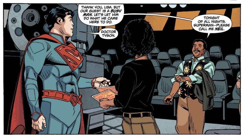 From Action Comics 14, Neil deGrasse Tyson greets Superman to help him with a problem.