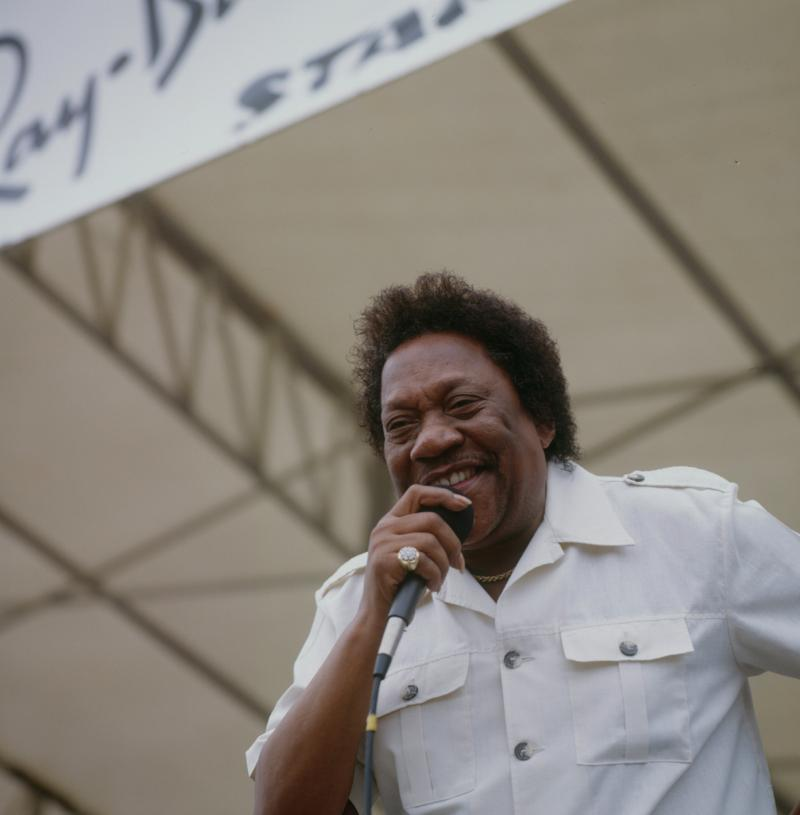 "Bobby ""Blue"" Bland performs on stage at the New Orleans Jazz and Heritage Festival in New Orleans, in 1989."