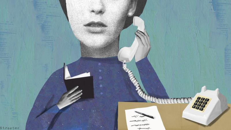 Illustration of a woman picking up a telephone