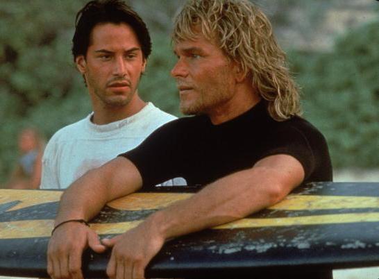 Actors Keanu Reeves and Patrick Swayze in Kathryn Bigelow's 1991 action film, Point Break.