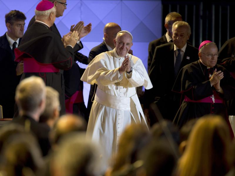 Pope Francis takes the stage at the Festival of Families on Saturday evening in Philadelphia.