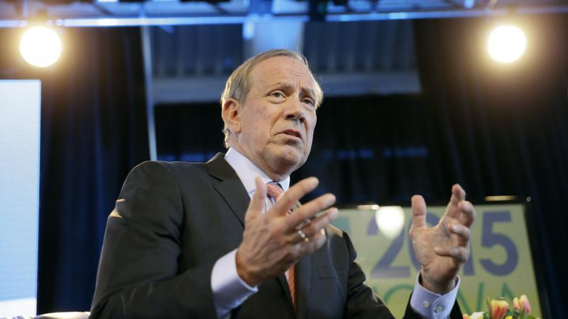 Former New York Gov. George Pataki speaks during the Iowa Agriculture Summit in March.