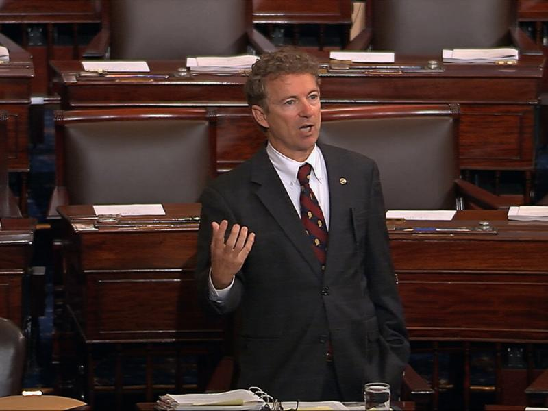 In an image from Senate video, presidential candidate Sen. Rand Paul speaks on the floor of the U.S. Senate Wednesday afternoon at the start of an almost 11-hour speech opposing renewal of the Patriot Act.