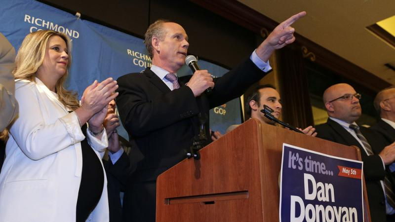 District Attorney Dan Donovan celebrates after his win in a special election to Congress from Staten Island, N.Y.