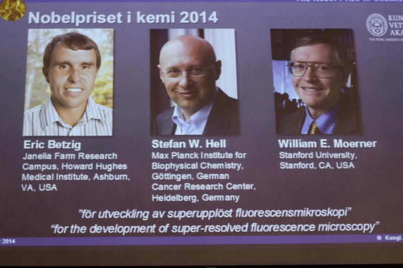 The three winners of the 2014 Nobel Prize for chemistry: Americans Eric Betzig and William Moerner, and German scientist Stefan Hell.