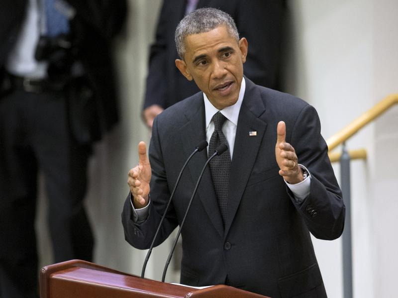 President Obama speaks about the Ebola epidemic Thursday at United Nations headquarters in New York.