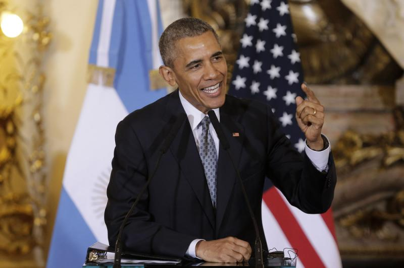 President Obama answers questions during a joint news conference with Argentine President Mauricio Macri at the Casa Rosada Presidential Palace in Buenos Aires on Wednesday.