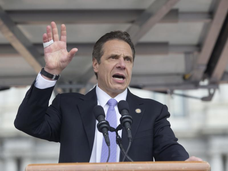 New York Gov. Andrew Cuomo speaks during a rally in March in Albany, N.Y.