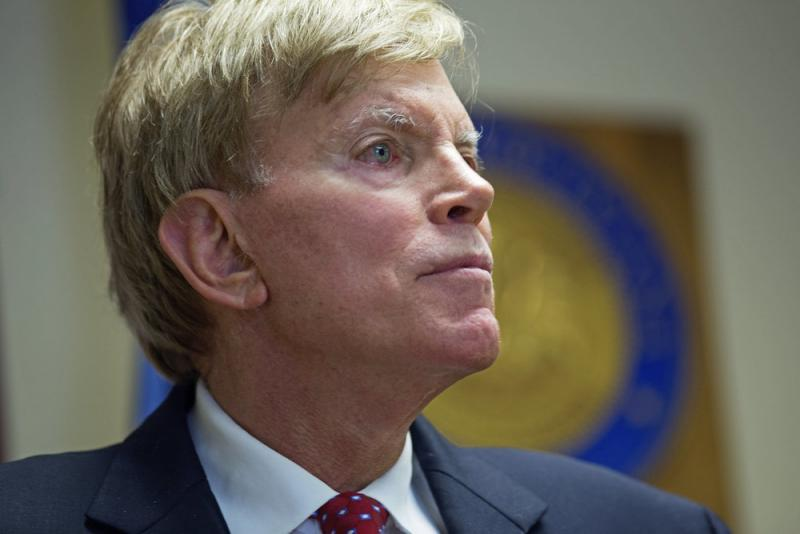 Former Ku Klux Klan leader David Duke talks to the media at the Louisiana secretary of state's office in Baton Rouge, La., on July 22, after registering to run for the U.S. Senate.