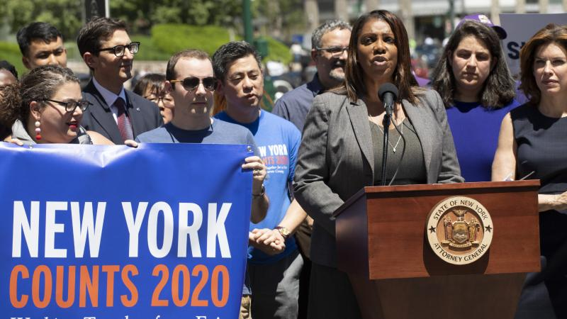 New York State Attorney General Letitia James speaks at a June news conference in New York City. James' office is now leading a coalition of states and other groups in defending the Census Bureau's long-standing policy of including unauthorized immigrants