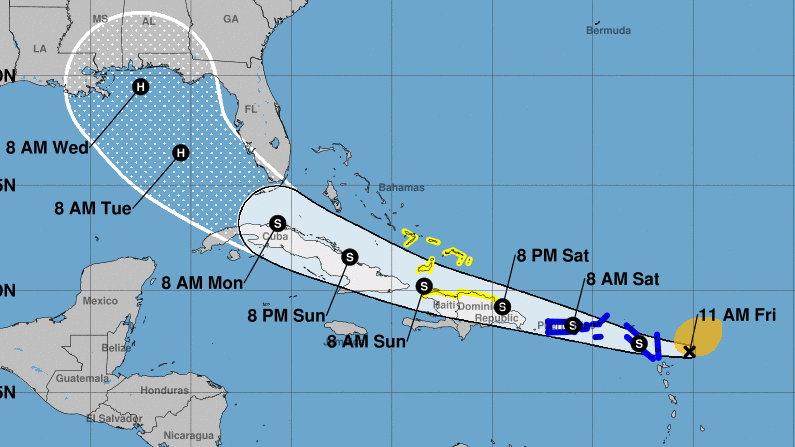 Tropical Storm Laura could become a hurricane early next week — around the same time another storm develops into a hurricane in the Gulf of Mexico. The system is forecast to bring rain and flooding to Caribbean islands on its way to the U.S. mainland.