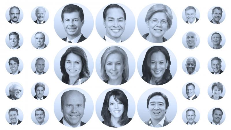 Declared candidates for the 2020 Democratic presidential nomination include Pete Buttigieg, Julián Castro and Elizabeth Warren.