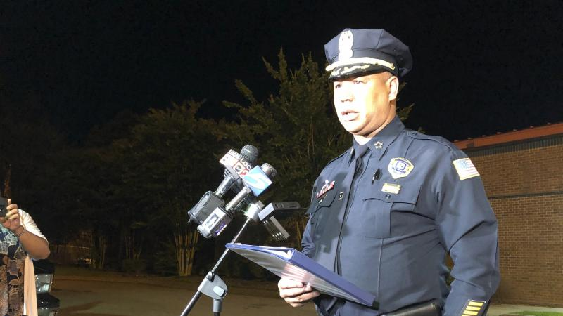 Memphis Police Director Michael Rallings speaks to reporters early Thursday in Memphis, Tenn., after armed officers and an angry crowd faced off late Wednesday night after officers with the U.S. Marshals Service shot and killed a man while trying to take