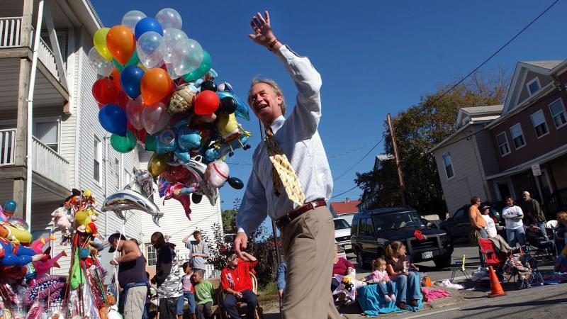 Then-Republican Sen. Lincoln Chafee marching in a parade in Woonsocket, R.I., in 2006.