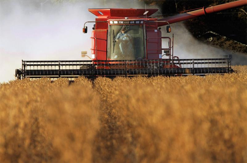 A farmer harvests his soybean crops near Farmingdale, Ill. Because China is major importer of America's soybeans, the sector is one predicted target for tariff retaliation.