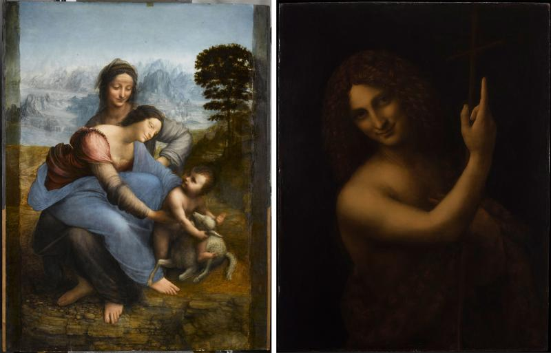 """When Leonardo da Vinci arrived in France in 1516, he brought three of his own paintings with him — """"Virgin and Child with Saint Anne"""" (left), """"Saint John the Baptist"""" (right) and the Mona Lisa."""