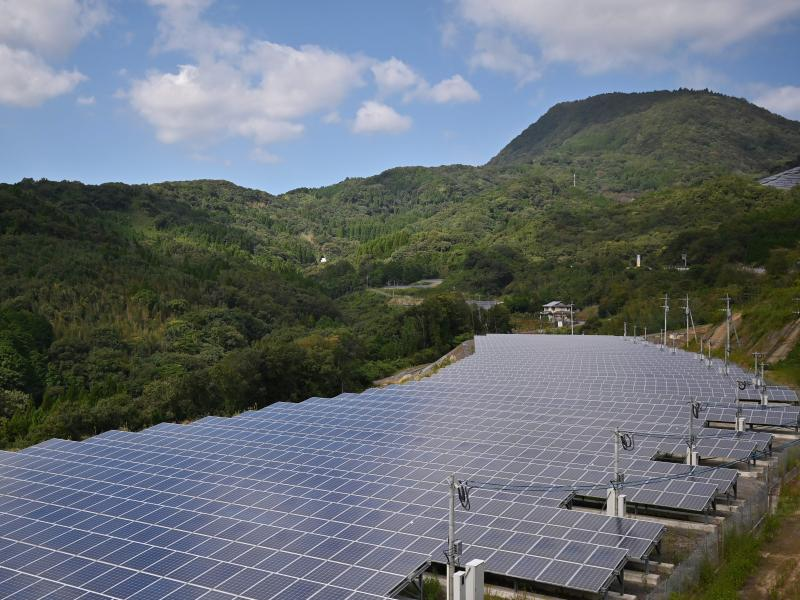 Japan plans to ramp up its use of solar panels, such as these shown in Yufu, Oita prefecture in 2019.