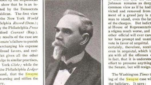 In the Senate on Tuesday, Chief Justice John Roberts cited the 1905 impeachment trial of Judge Charles Swayne; this photo of Swayne appeared in a March 1905 issue of The Literary Digest.