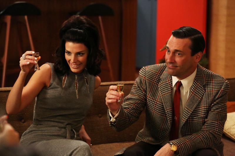 Megan Draper (Jessica Pare) and Don Draper (Jon Hamm) in an episode of Mad Men's sixth season.