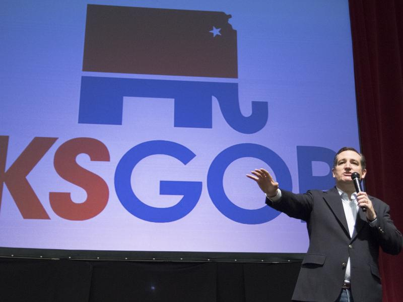 Sen. Ted Cruz delivers a speech at a campaign rally in Wichita, Kan., on Saturday.