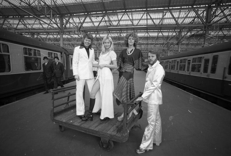 """The members of ABBA (from left): Bjorn Ulvaeus, Agnetha Faltskog, Anni-Frid Lyngstad and Benny Andersson at Waterloo station in London in 1974, the year the group won the Eurovision contest with the song """"Waterloo."""""""