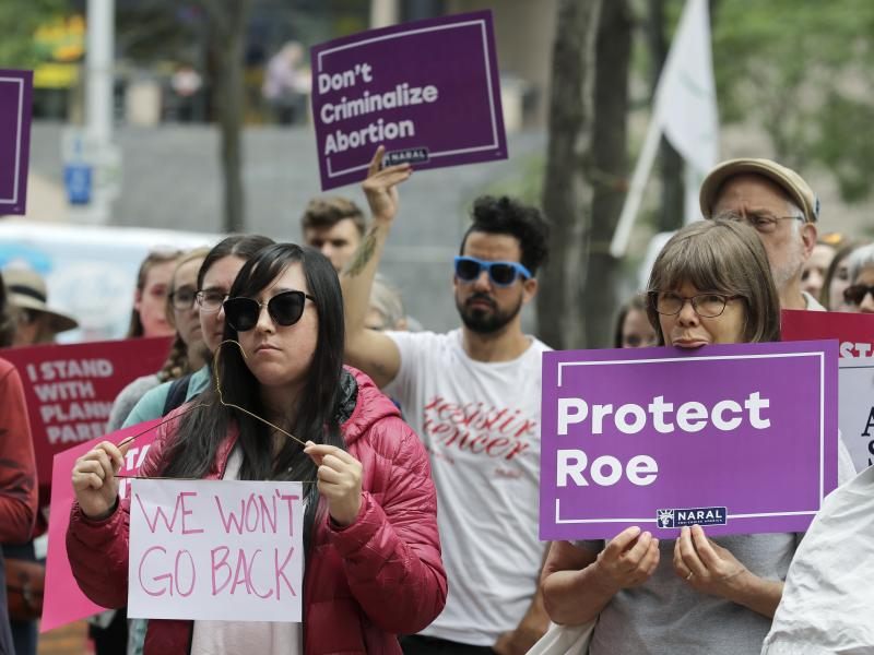 Abortion-rights supporters in Seattle protest on Tuesday against President Trump and his choice of federal appeals Judge Brett Kavanaugh as his second nominee to the Supreme Court. Activists are preparing for the possibility that Kavanaugh's confirmation