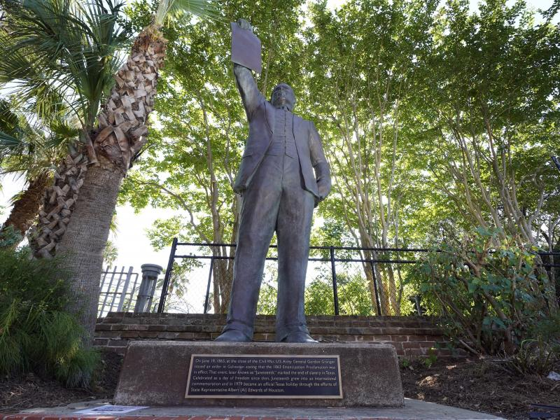 A statue in Galveston, Texas, honors state lawmaker Al Edwards, who authored a bill that made the date an official state holiday. City leaders gathered in the statue's shadow Friday for a ceremony remembering both Edwards and the emancipation.