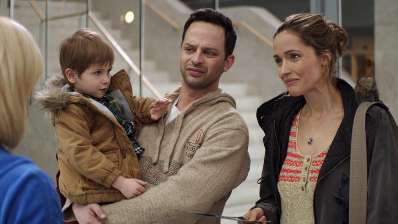 In Adult Beginners, Nick Kroll plays a failed tech entrepreneur who moves in with his older sister (Rose Byrne) and starts looking after her young son (Caleb and Matthew Paddock).