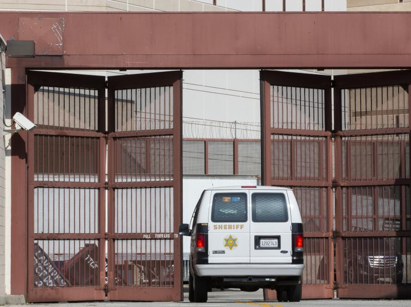 A Los Angeles County Sheriff's Department van enters the Twin Towers Correctional Facility in Los Angeles on April 1, 2020. California is planning to release as many as 3,500 inmates who were due to be paroled in the next two months as it tries to free sp