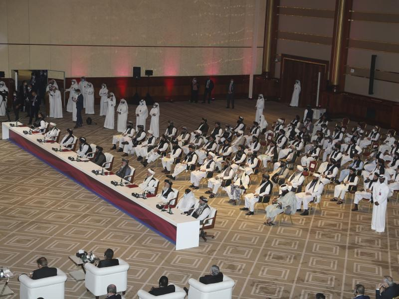 The Taliban delegation attends the opening session of the peace talks between the Afghan government and the Taliban in Doha, Qatar, on Sept. 12.