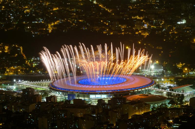 Fireworks light the sky during a rehearsal Wednesday for the opening ceremony of the 2016 Summer Olympics in Rio de Janeiro. Organizers hope the event, which will be held Friday night in Maracana Stadium, will lift the country's spirits after months of pr
