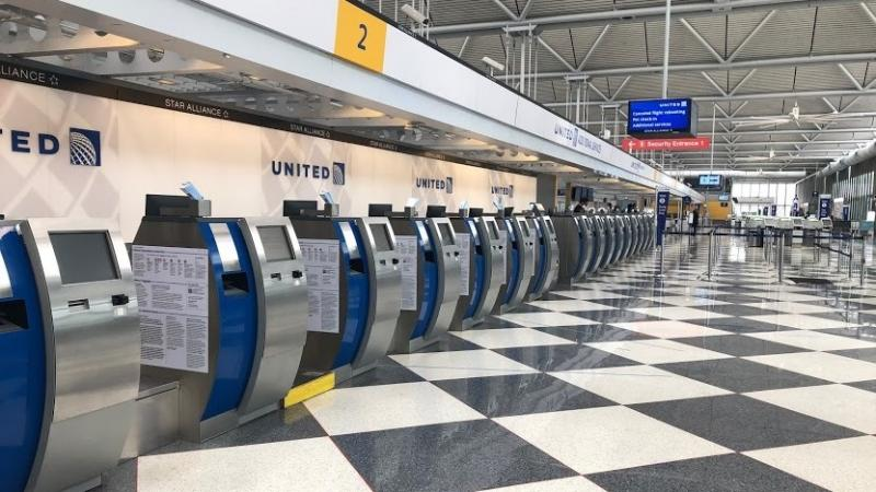 An empty terminal at Chicago's O'Hare International Airport. The normally bustling check-in at the United Airlines terminal was eerily quiet on April 24.