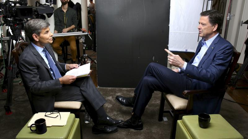 In this image released by ABC News, correspondent George Stephanopoulos (left) appears with former FBI director James Comey for a taped interview that aired during a prime-time 20/20 special on Sunday.