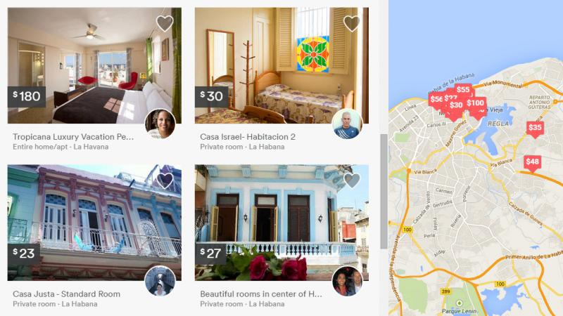 A new section of the Airbnb home rental site shows places available for short-term stays in Havana.