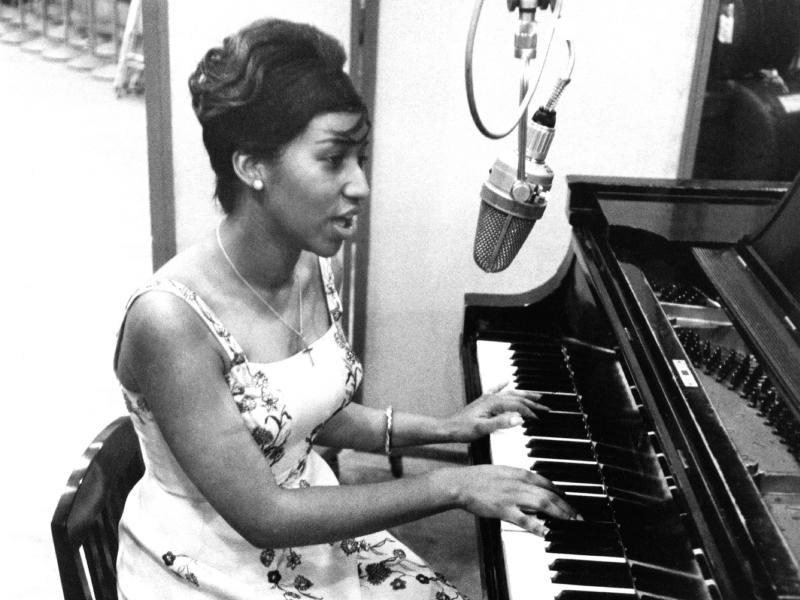 Aretha Franklin recording at Columbia Studios in 1962.