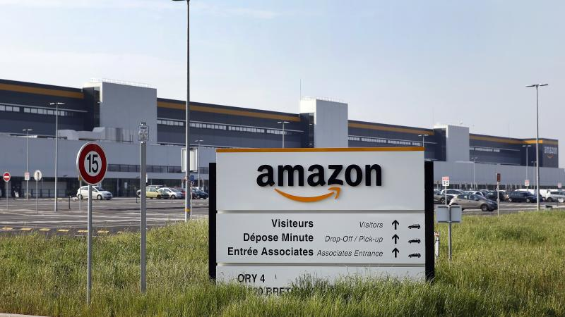 The entrance of Amazon's logistics center in Bretigny-sur-Orge, one of six Amazon facilities in France.